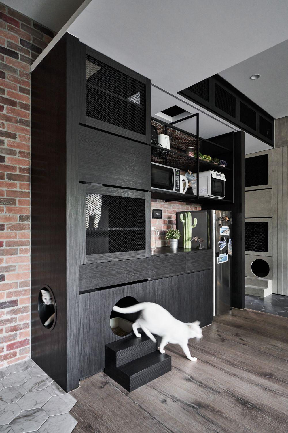 貓宅案例分享_1 房+2 貓屋,讓工業風變成優雅寵物宅